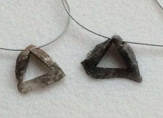 Grey Raw Diamond Triangle Pendant Laser Cut by gemsforjewels
