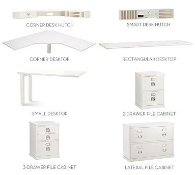 Also more than $500 for small desk - Build Your Own - Bedford Home Office Modular Components #potterybarn