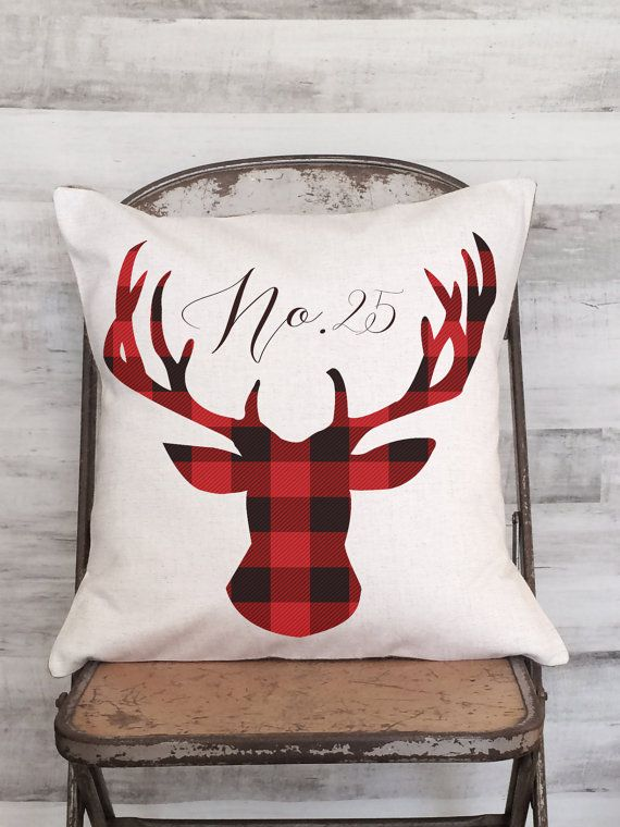 Christmas Pillow Cover Holiday Red Plaid Woodland Deer #aff