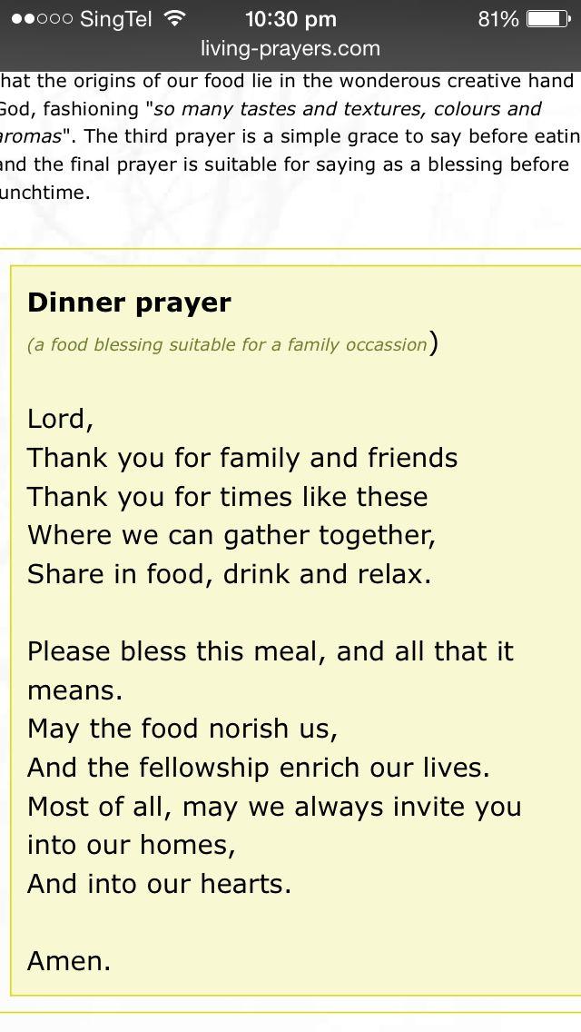 Dinner prayer                                                       …