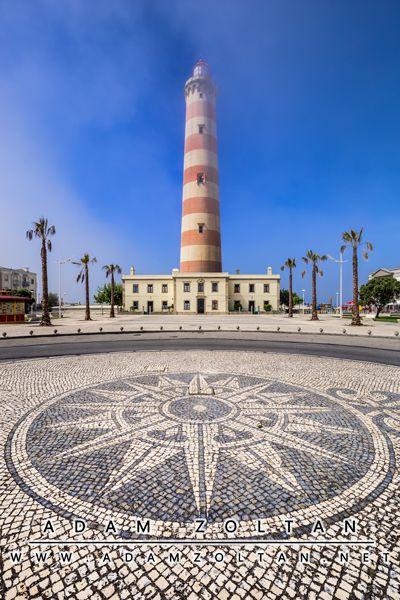 Lighthouse of Praia da Barra in Gafanha da Nazare, Portugal