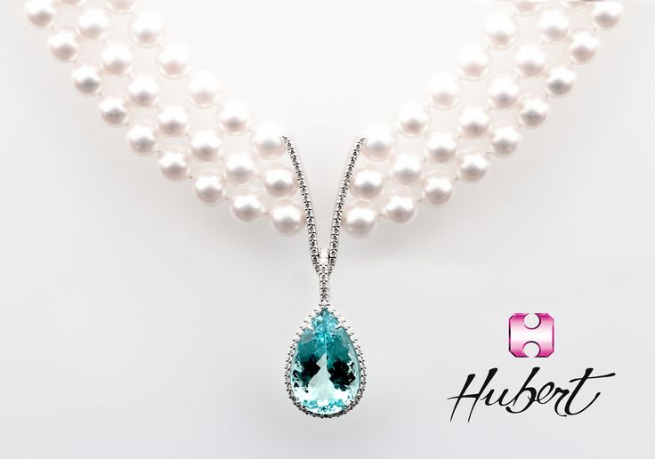 Hubert -Stunning Akoya Pearl Collar Necklace with Detachable Stunning 201.13 Carat Pear Shaped Aquamarine Pendant All accented with 1.56 Carats of Diamonds. Exclusively at Neiman Marcus Beverly Hills Precious Jewel Salon. 310-550-5900. Email deedee@hubertgem.com for more information.