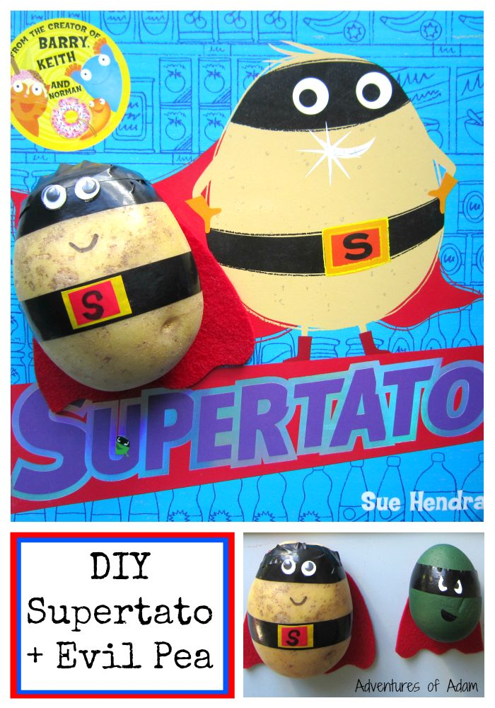 Make your own Supertato - the super hero potato from Sue Hendra's brilliant book. Your little one an save the vegetables against the Evil Pea and put him back in the freezer where he belongs. Great for book inspired imaginative play.
