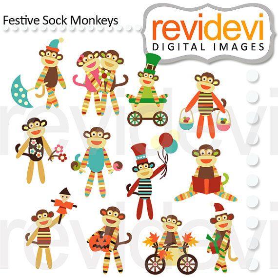 Festive Sock Monkeys 07457.. Digital cliparts by revidevi on Etsy