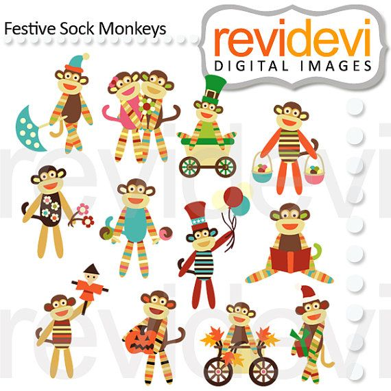 Festive Sock Monkeys 07457.. Digital cliparts by revidevi on Etsy