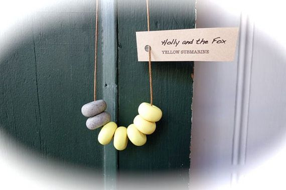 YELLOW SUBMARINE Clay Bead Necklace by hollyandthefox on Etsy