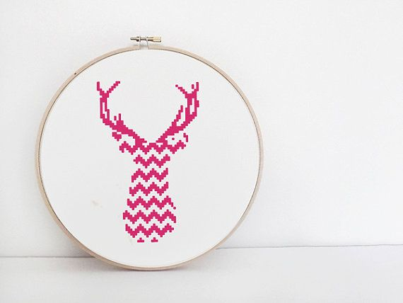 PDF Cross Stitch Pattern - Pink Chevron Stag Deer Counted Cross Stitch Chart - Instant Download