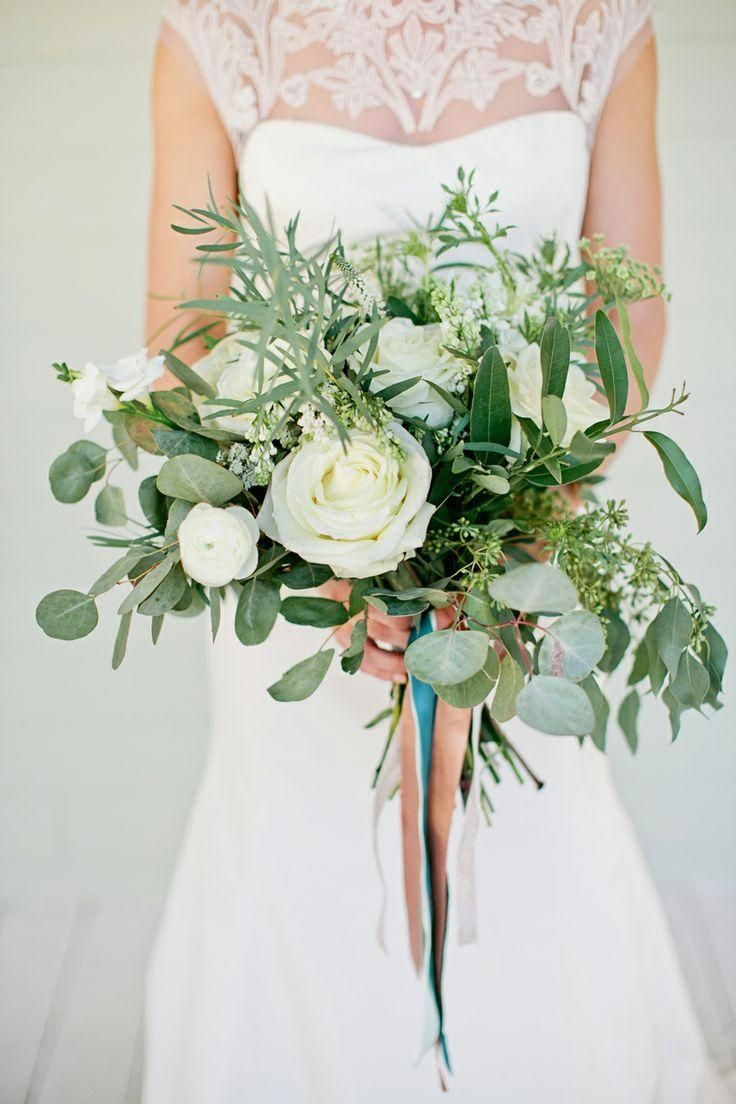 White Rose And Greenery Bouquet
