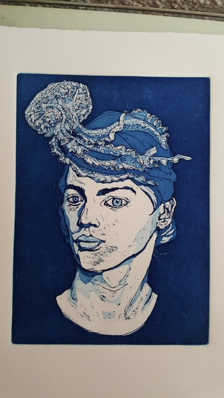 Medusa, #etching #aquatint by Laura
