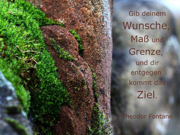 Gib deinem Wunsche, Maß und Grenze und entgegen kommt das Ziel. Theodor #Fontane #zitat #quote #printables #Wunsch
