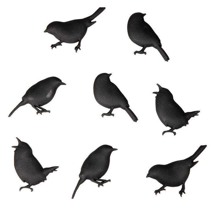 Bird Magnets 8 Pieces | Black by Quirky European Designs on POP.COM.AU
