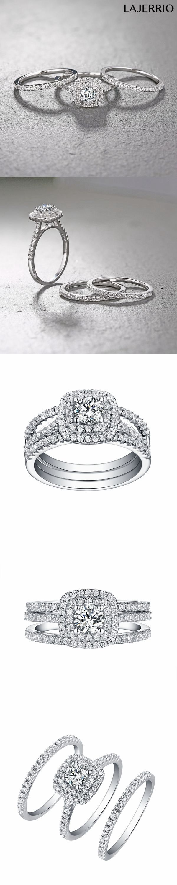 Lajerrio Jewelry Round Cut White Sapphire 3 Piece 925 Sterling Silver Halo Ring Sets
