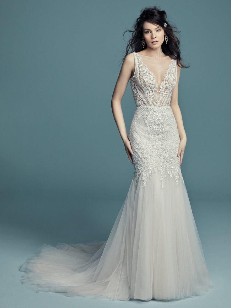 Ärmelloses V-Ausschnitt Perlen Vintage inspirierte Passform und Flare Brautkleid   Kleinfel …   – Dresses