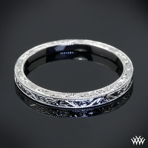 74 best custom wedding band ideas images on pinterest wedding handmade wedding band this delicately detailed custom hand engraved wedding ring is set in platinum junglespirit Image collections