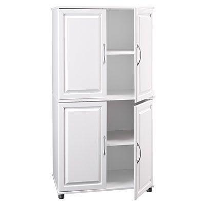 Ameriwood White 4 Door Storage Cabinet Kitchen Pinterest Cabinets Raised Panel Doors And