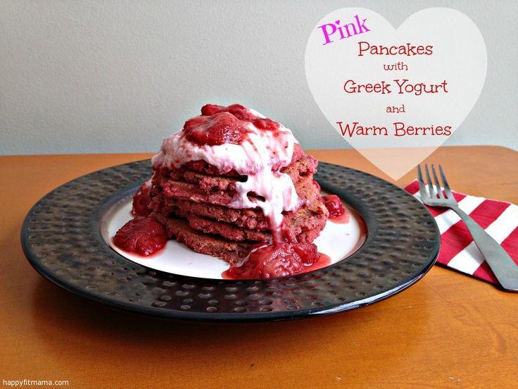 Pink Pancakes with Greek Yogurt and Warm Berries | recipe | low in sugar | breakfast |  happyfitmama.com