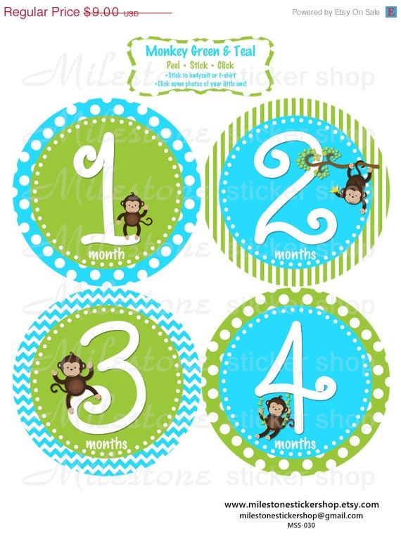 Monkeys in green and teal monthly milestone stickers by milestonestickershop • 9 00
