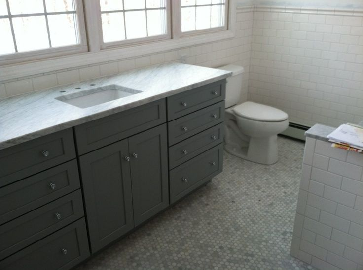 Kemper Cabinets In Juniper Berry W/ Carrara Marble Top