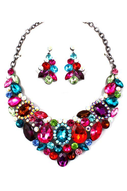 Magnolia Crystal Statement Necklace Set