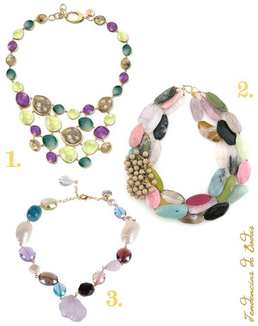Seleccion de maxi collares para novias ¿Os atrevéis con un toque de color?...: 1. Monica Vinander, 2. Elva Fields, 3. Triana by C