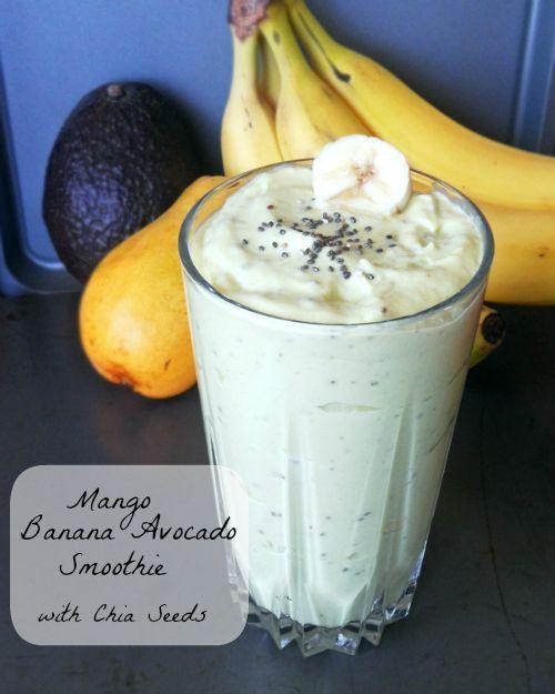 Mango Banana Avocado Smoothie with Chia Seeds - a creamy, healthy breakfast treat