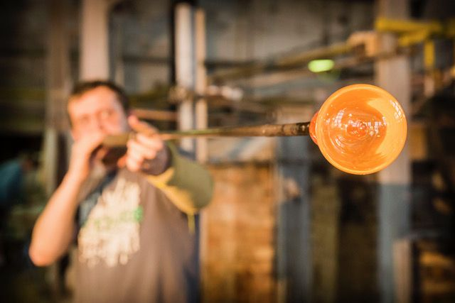 Each piece of glass is handblown by masters glassblowers.