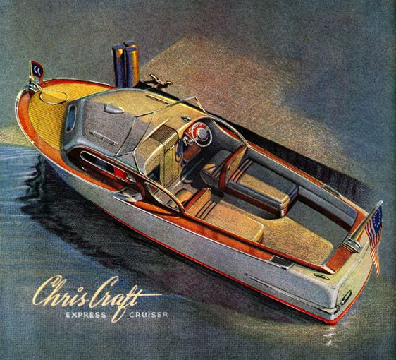 Plan59 :: Vintage Ads :: Classic Boats :: Chris-Craft Express Cruiser, 1943 :: Oh Geez, that's a sweet little ride.