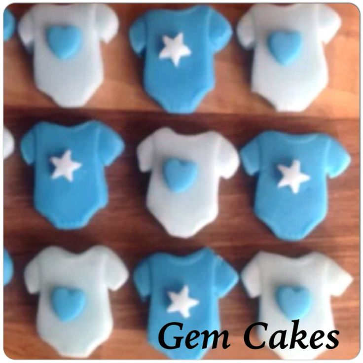 Edible baby Shower christening Blue mix baby vests cupcake toppers decorations for Boys