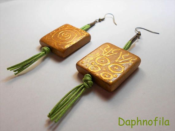 Painted wood beads earrings Handmade earrings Handmade
