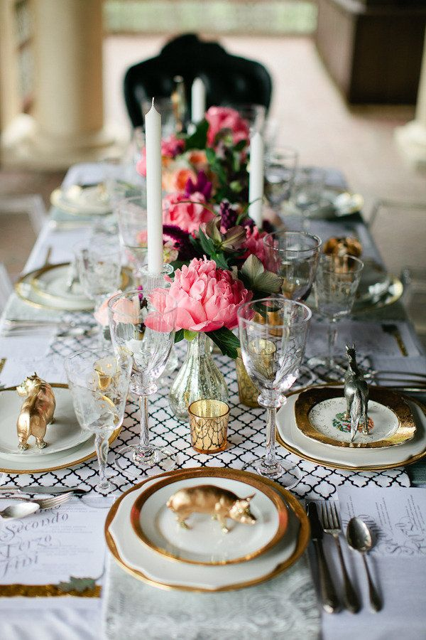 Gold and silver animal table setting