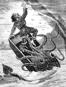 Ipotetica ricostruzione del presunto incontro di Erik Garner Warren con un Calamaro gigante circa nel 1707