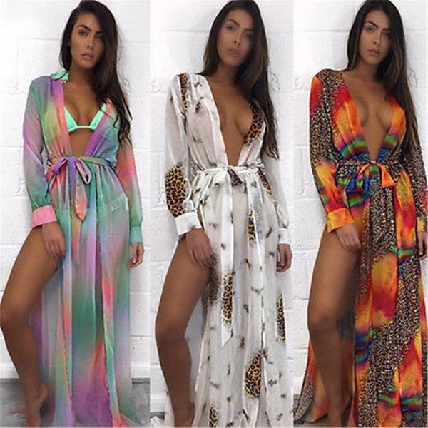 New Arrivals Beach Boho Style Colorful Women Long Maxi Split Dress Fashion Ladies Plus Size Summer Chiffon Dress Vestidos