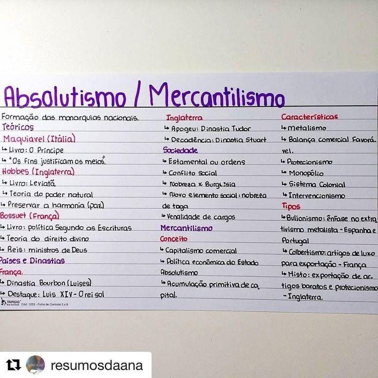 #Repost @resumosdaana with @repostapp ・・・ Absolutismo/Mercantilismo (frente) #historia ...