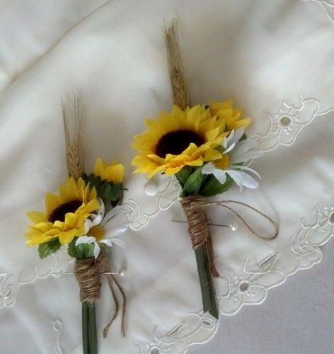 Sunflower Boutonnieres Rustic Chic Wheat Twine Artificial