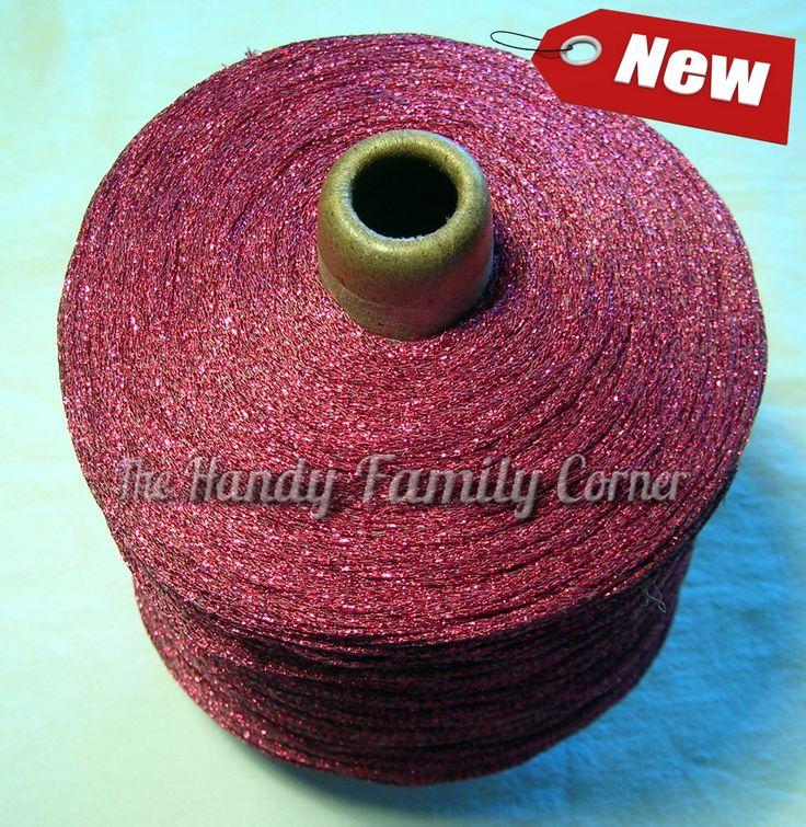 Glitter Lurex Yarn, Shine, sparkle yarn, glamor yarn, cyclamen color Hobbi yarn, metal yarn, lame, cone yarn, wholesale yarn by HandyFamily on Etsy