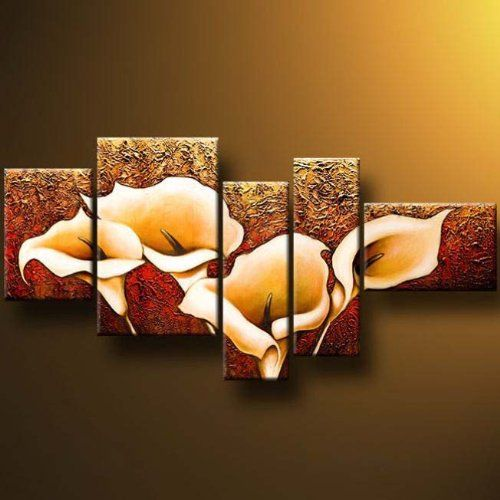 "Wieco Art 5-Piece ""Calla Lily"" Stretched and Framed Modern Oil Paintings on Canvas Wall Art Set"