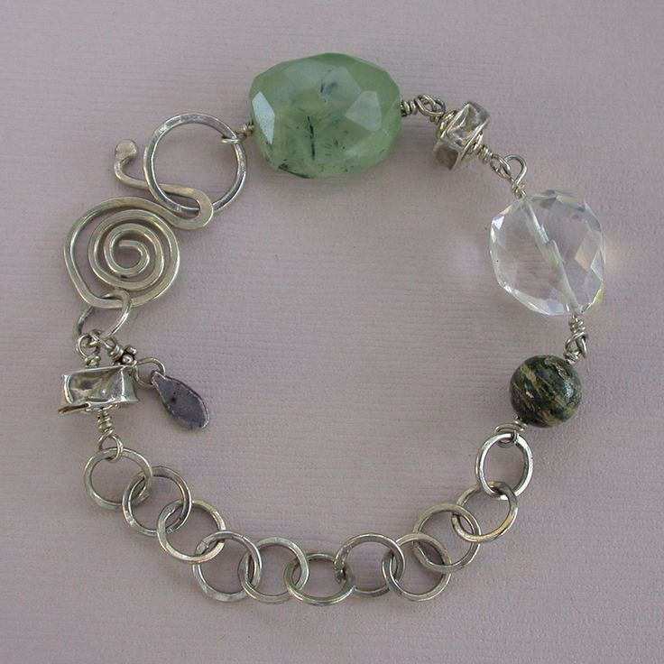 Striped jasper silver band bracelet