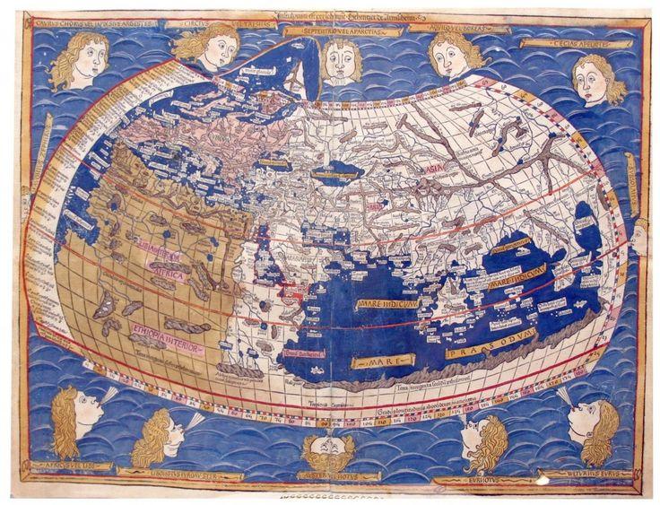 Una de las primeras representaciones cartográficas de occidente y oriente. Mapamundi de la Cosmographia de Ptolomeo, perteneciente a la Biblioteca Nacional de España (Inc/116)