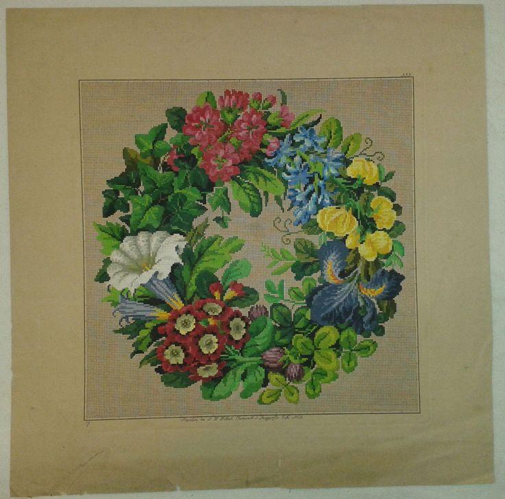 A Beautiful Berlin WoolWork Floral Wreath Produced By L W Wittich In Berlin ~ The Wonderful Gavrucha Gallery