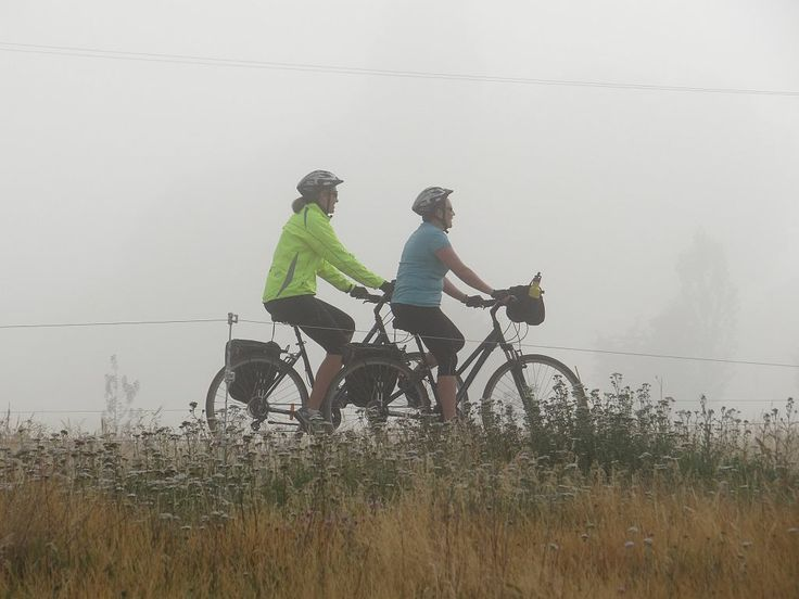 Cycling in the mist.