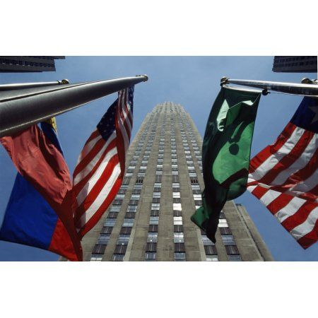 Posterazzi Rockefeller Centre Rca Building And Flags Canvas Art - Alberto Arzoz Design Pics (38 x 24)