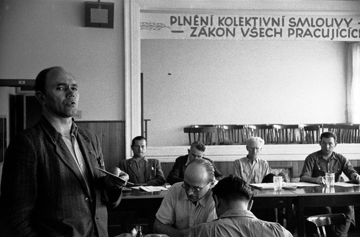 Meeting of the executive committee in the Český Brod agricultural cooperative in Czechoslovakia, 1956. The cooperative has 6.500 hectars of land made up of former private holdings and 1500 farm workers.