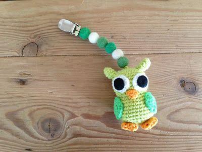 Husbestyrerinden: Ugle til barnevognen (crochet, owl)