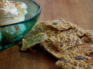 Homemade Quark Cheese dip and Swedish Knackenbrot Crackers