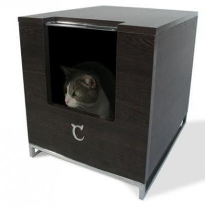 """Details Sizing Guide These designer hiders for litter boxes are sure to be a hit with your fashion conscious kitty. The Litter Box Hider is constructed with a high pressure laminate finish-- which protects it in the event of spills. All the metal pieces are chrome plated and this box features a chrome plated """"C"""" logo. Only top quality materials are used in the construction of this item. All new litter hiders have (2) hooks inside of the box so you can suspend a bag and easily remove waste…"""