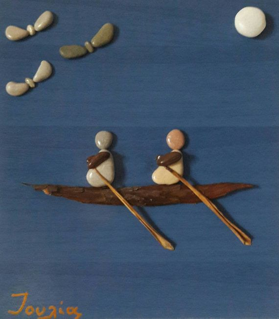 30x30 cm 11.8111.81 in Rowing Pebble art Unique gift by IOULIAArt