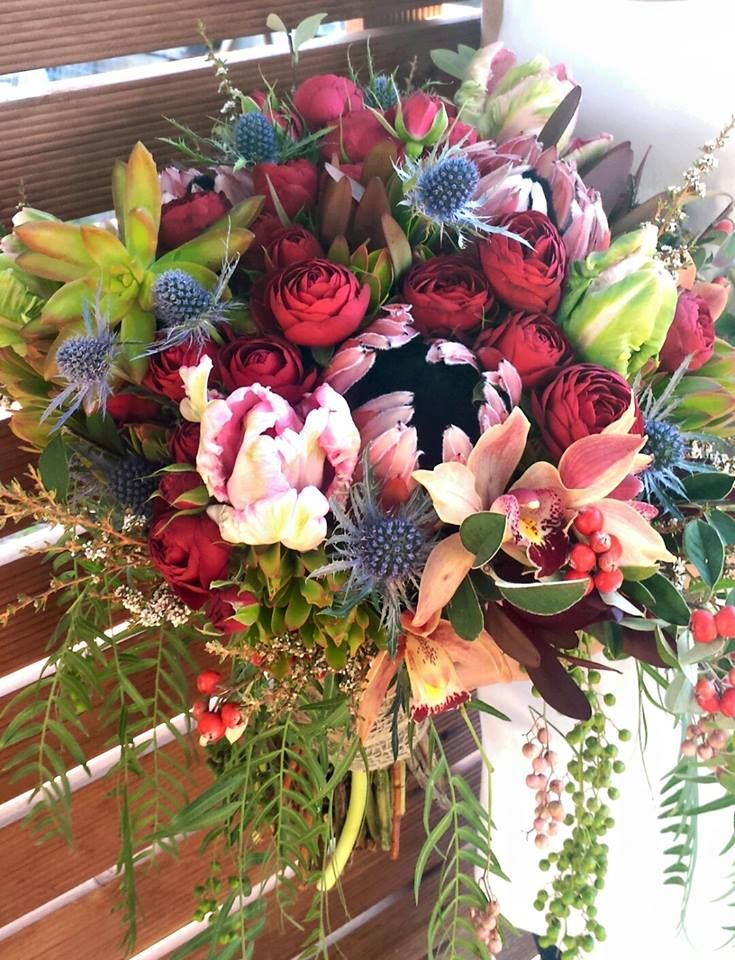 Second fave! Nice colours - a touch too big in size - would like a touch more trailing greenery. Flowers of Envy arrangement for a wedding at St Francis Winery