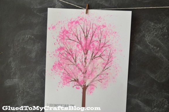 Bubble Wrap Print Cherry Blossom Tree Kid Craft Idea For Spring Cherry Blossom Tree Blossom Trees Spring Crafts For Kids