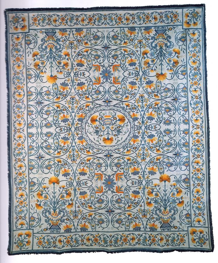 Blue and Yellow Silk Embroidery Wall Tapestry