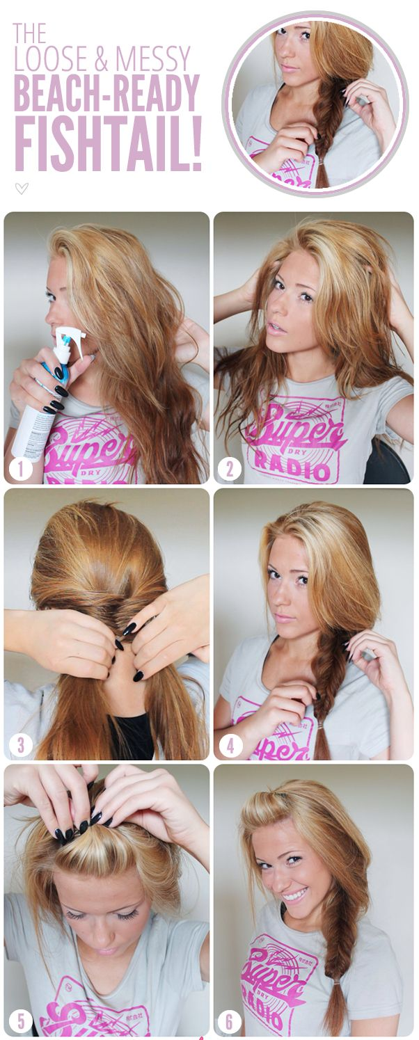 THE LOOSE AND MESSY BEACH-READY FISHTAIL BRAID-Top 15 Easy-To-Make Braids Tutorials. I like her hair color